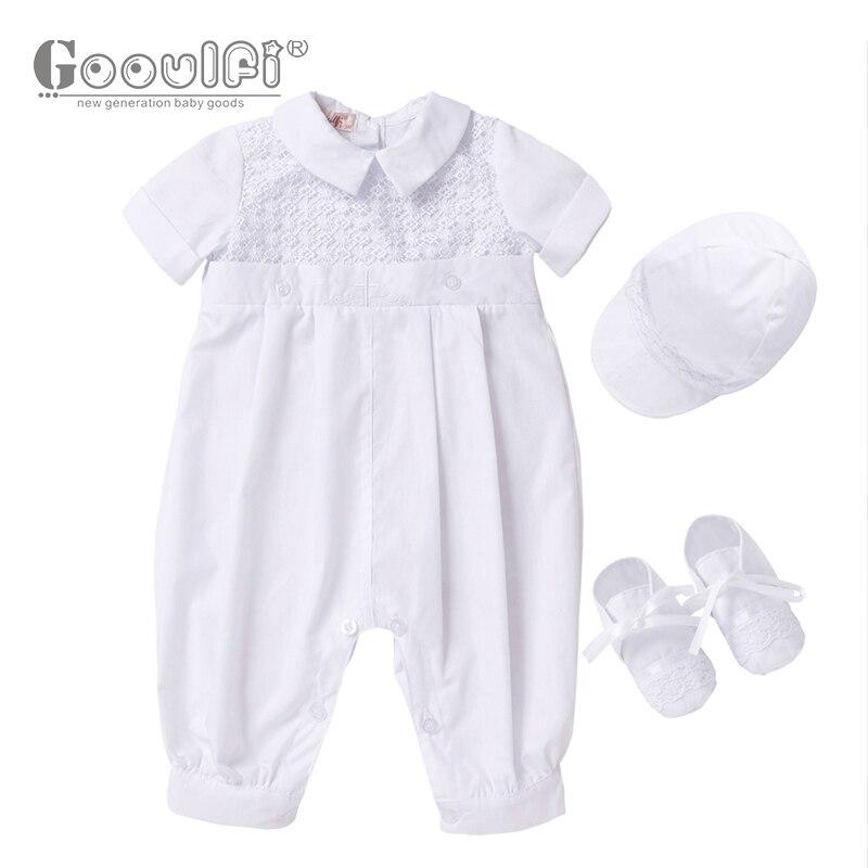 Gooulfi baptême bébé garçon vêtements été nouveau-né baptême coton blanc baptême 3 pièces ensemble bébé nouveau-né bébé garçon vêtements