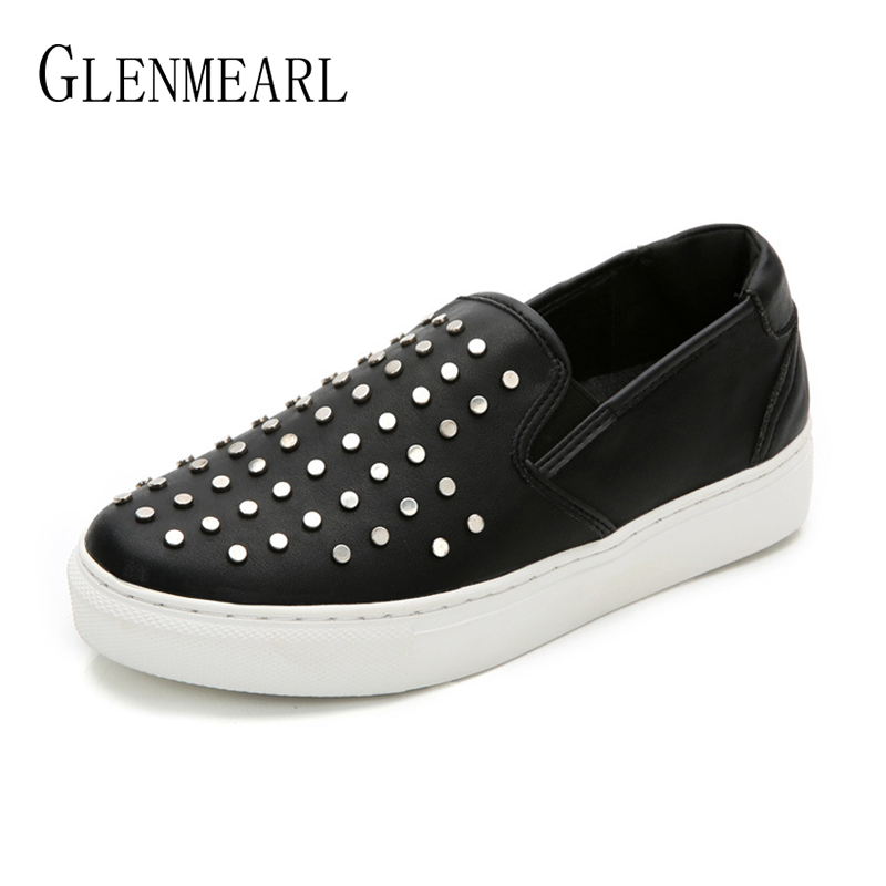 Genuine Leather Women Loafers Shoes Brand Spring Single Woman Flats Black Rivet Platform Thick Heels Shoes Casual Plus Size 45 keaiqianjin woman genuine leather shoes spring autumn black brown loafers shoes lazy plus size flats genuine leather loafers