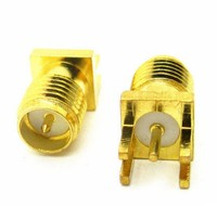 50Pcs Brass RP SMA Male Plug Center Solder PCB Clip Edge Mount RF Connector For Mobile