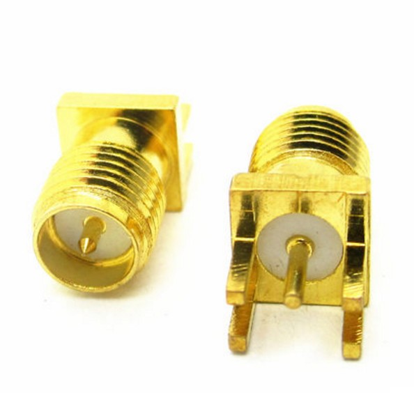 50Pcs Brass RP-SMA Male Plug Center Solder PCB Clip Edge Mount RF Connector for Mobile Signal Booster/Antennas/Coaxial Cables rp sma female to y type 2x ip 9 ms156 male splitter combiner cable pigtail rg316 one sma point 2 ms156 connector for lte yota