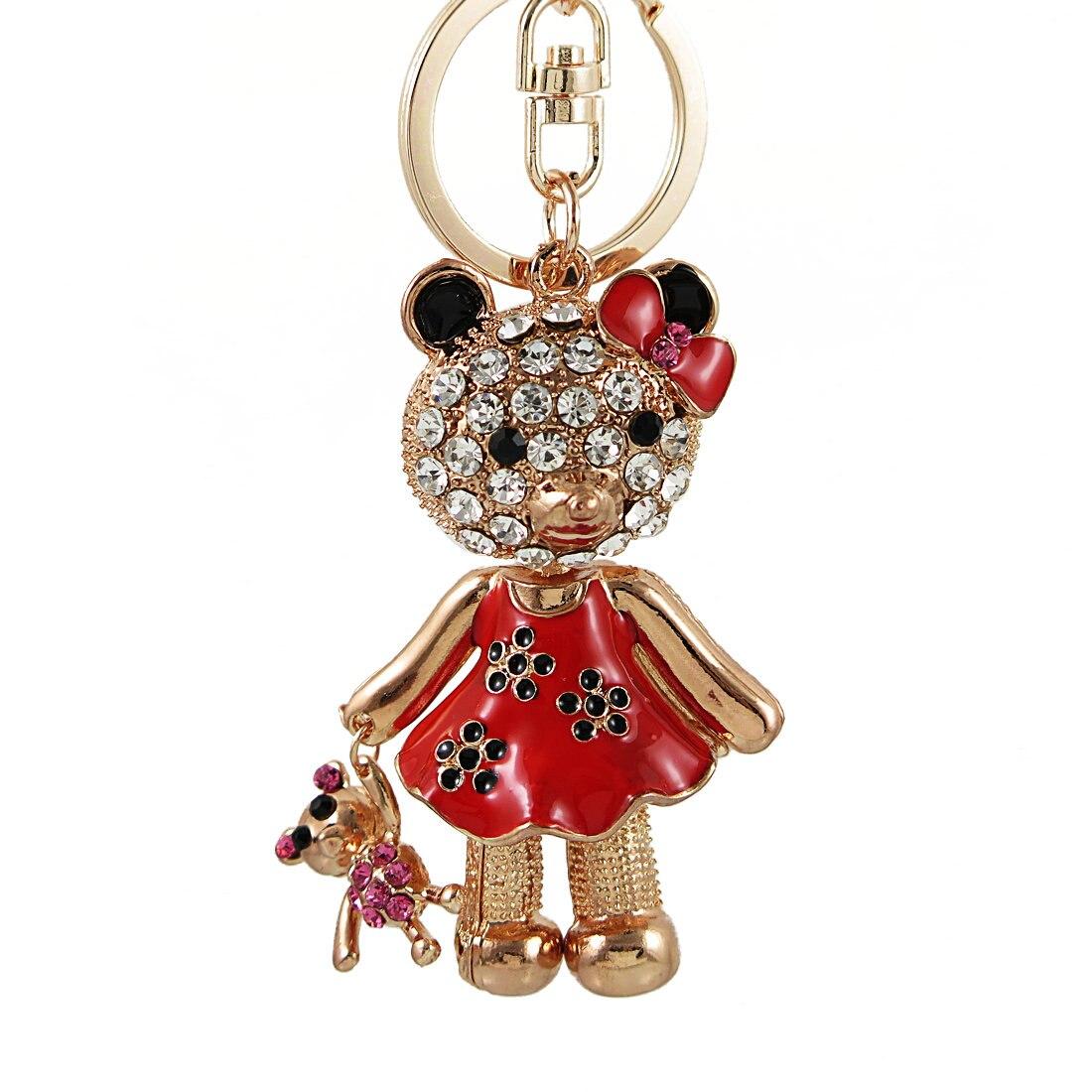 Cute Big Crystal Bear Keychains Beautiful Girl Crystal Handicraft Women Bag Pendant Car Key ring Key chains Christmas Gift
