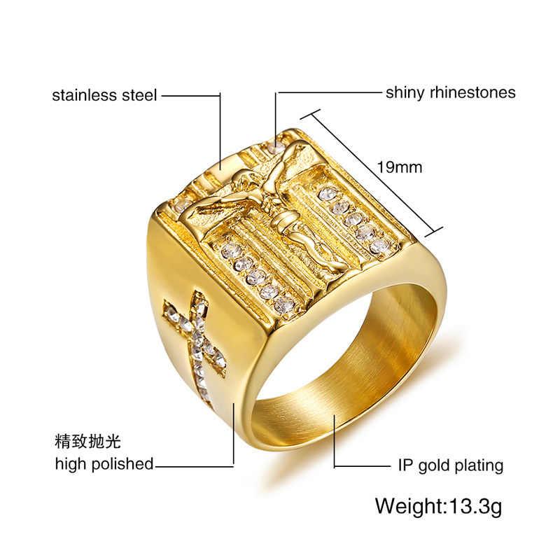 Vnox кольцо в стиле панк с крестом Иисуса Христа для мужчин нержавеющая сталь, кристаллы, мужские ювелирные изделия в стиле хип-хоп золотого цвета