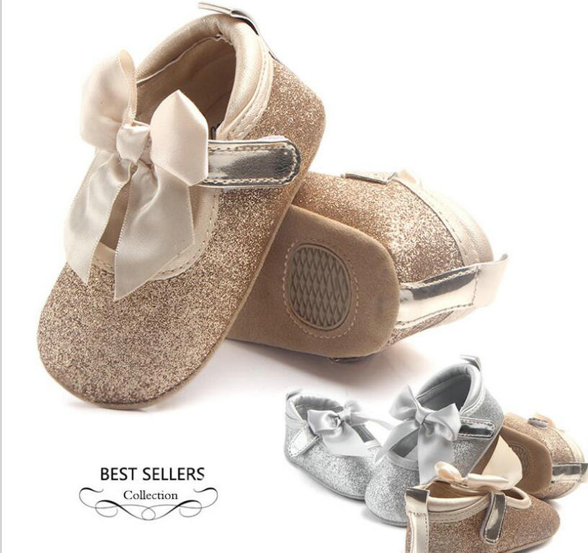 Silver Leather Baby Shoes For Girl With Bling Bling Surface Newborn Girl Moccasin For Birthday Dress Decoration Infant Boots