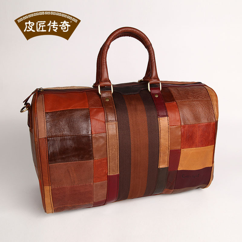 High Quality!  GENUINE LEATHER Travel bag first layer of cowhide vintage colorant match big drum handbag messenger bag 803165 luxury genuine leather women s day handbag all match panelled small bags first layer of cowhide messenger bag women s clutch bag