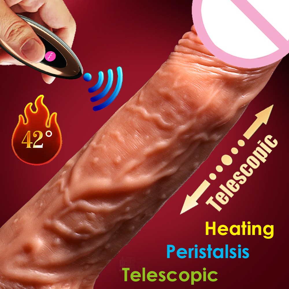 Wireless control Dildo Extreme Realistic G spot Automatic heating telescopic and Peristaltic penis Sex adult Toys