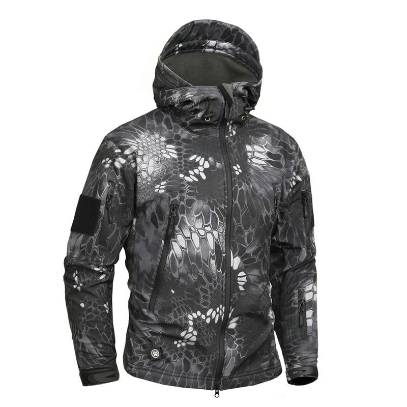 Mege Brand Python Pattern Camouflage Men Sharkskin Softshell Autumn Hoodies Jacket, Military Clothing Jacket Tactical Army Coat