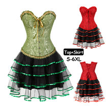 71406397fa Womens Sexy Green Red Lace up Bustiers Boned Gothic Corset Bustier Dress  Set Tutu Skirt sexy