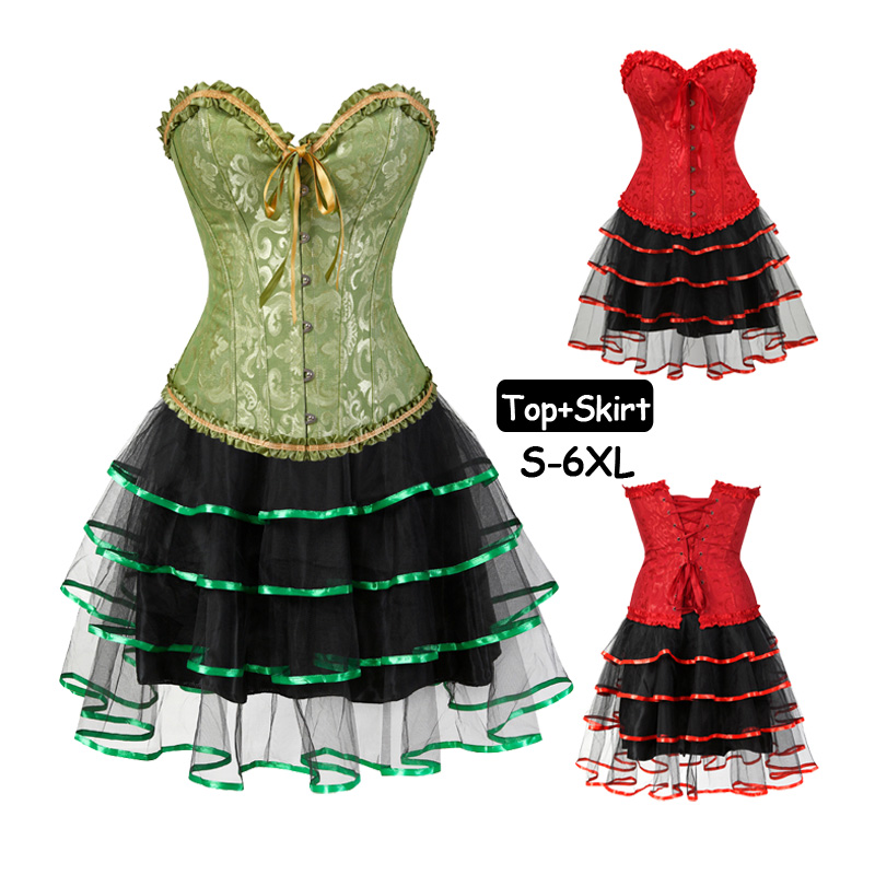 Womens Sexy Green Red Lace up   Bustiers   Boned Gothic   Corset     Bustier   Dress Set Tutu Skirt sexy Plus Size lingerie Ruffles corsele