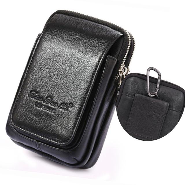 Fanny Pacote de Cintura do Couro genuíno Celular/Mobile Phone Caso Bolsa Dinheiro Homens Belt Bum Bolsa Gancho Gancho do Saco