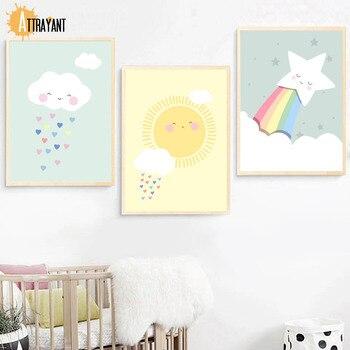 Bulut Güneş Gökkuşağı çocuklar Için Duvar Sanatı Tuval Yağlıboya