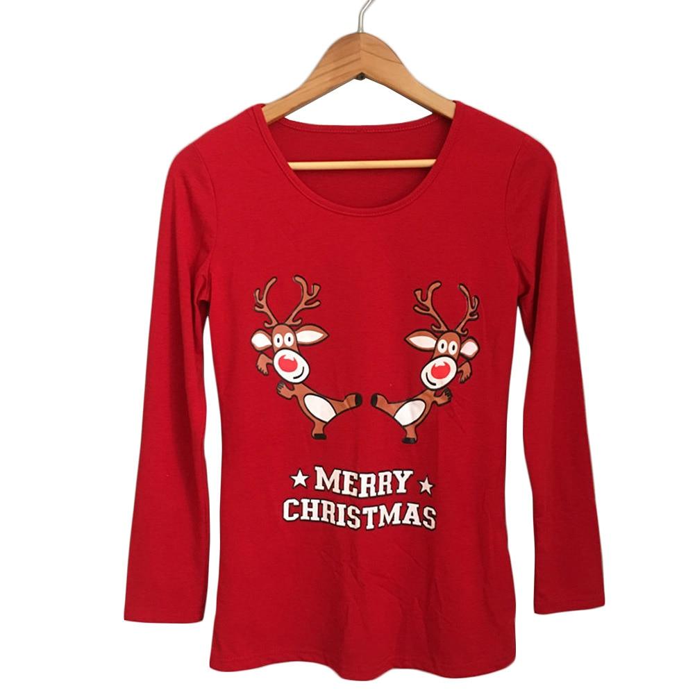 2017 Casual T-shirt Long Sleeve Christmas Print Loose Tunic Tops Autumn Women Basic Cute Animal Elk Santa Wallet T Shirt