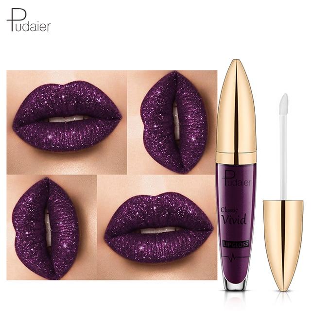 Hot 2018 Glitter labios líquido lápiz labial maquillaje de la marca mujeres impermeable azul púrpura rojo vino Color pudaier Shimmer Lip Gloss