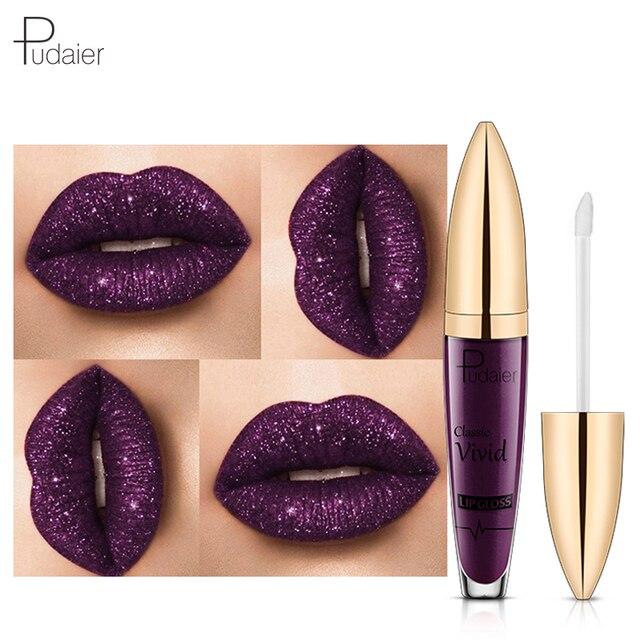 Hot 2018 brillo labios líquido pintalabios lote mujeres marca maquillaje impermeable azul púrpura vino rojo Color pudaier brillo de labios