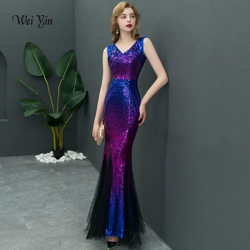 weiyin Mermaid V Neck   Evening     Dress   Prom Gowns vestido de festa Luxury Blue Purple Long Sequin Formal Party   dress   WY898
