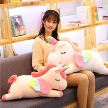 Unicornios de peluche del mito occidental Pusheen, peluche grande de juguete, peluche suave, unicornio con alas, almohada suave, regalo de cumpleaños para niña