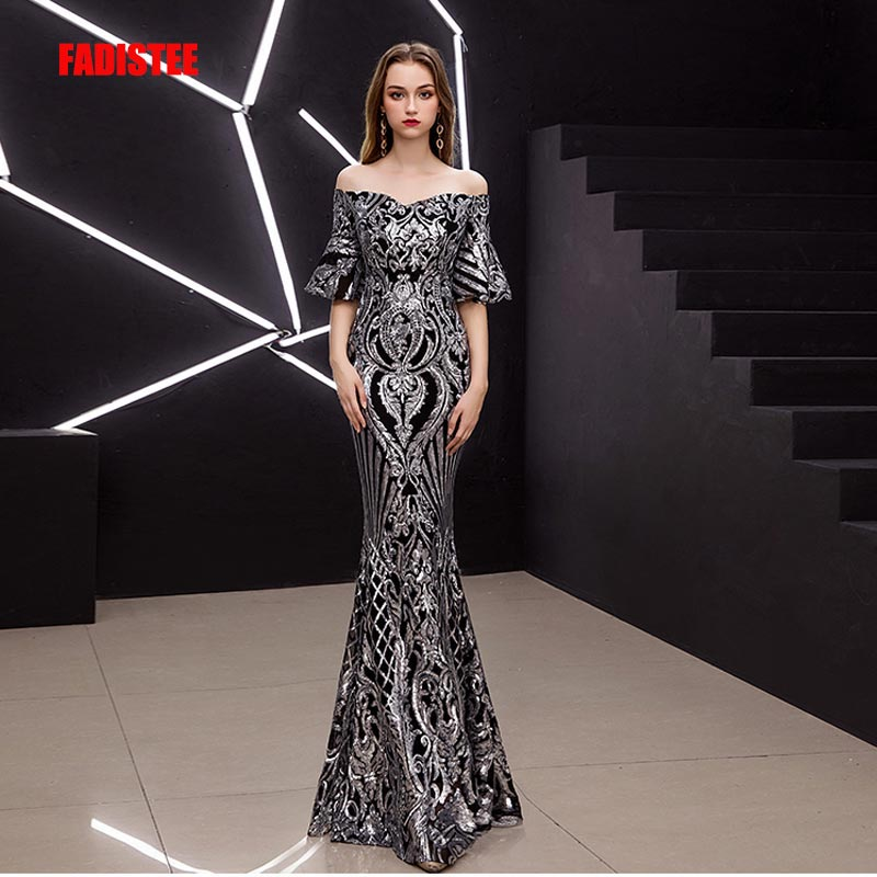 FADISTEE New arrival Vestido De Festa Long   Evening     Dress   Bride Party Prom   Dresses   sweetheart sequins short trumpet sleeves