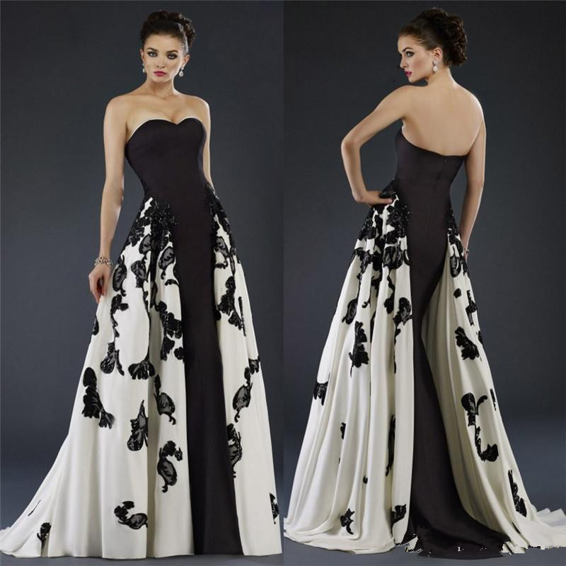 Vimans White and Black Long Evening Gowns With Overskirts Sweetheart ...