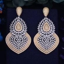 GODKI 65mm Lüks Popüler WaterDrop Kabak Tam Mikro Açacağı Kristal Zirkonyum Naija Düğün Küpe moda takı Kadınlar için