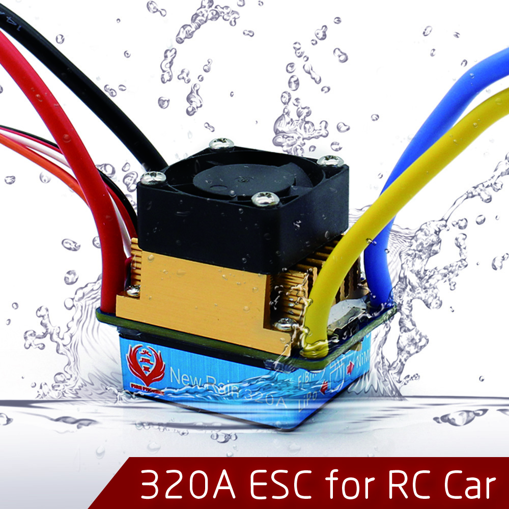 320A Waterproof Brushed ESC Speed Controller with 5V/2A BEC for 1/10 RC Crawler SCX10 RC4WD D90 Traxxas Tamiya HSP RC Car mach hsp 320a brushed brush motor speed controller esc f 1 10 1 12 rc truck car boat
