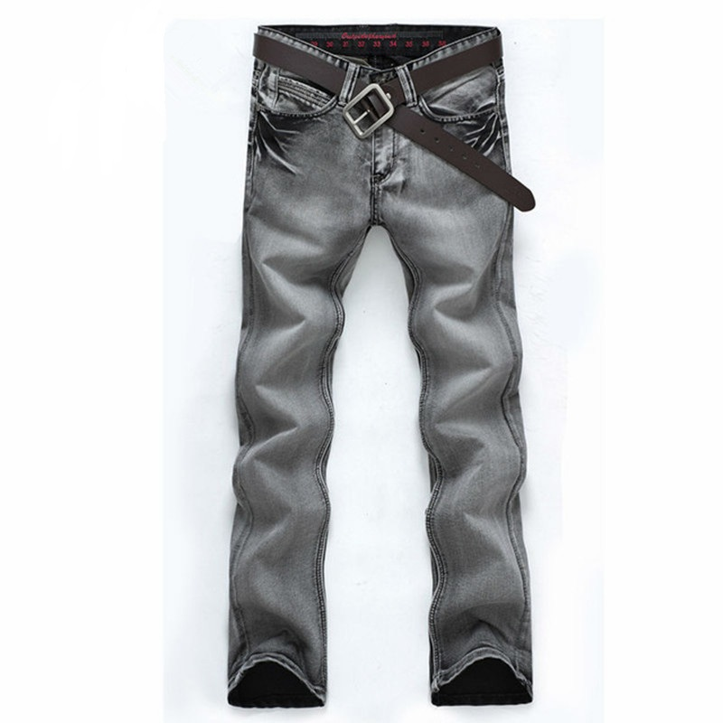 2017 Brand New European Men's Gray Jeans Male Straight Denim Pants Mid-rise Slim Fit Casual Trousers Water-Washed Pants YN325