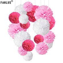 FANLUS 13cm Tissue Paper Pom Poms Paper Flower Ball for Birthday Party Wedding Baby Shower Bridal Shower Festival Decorations(China)