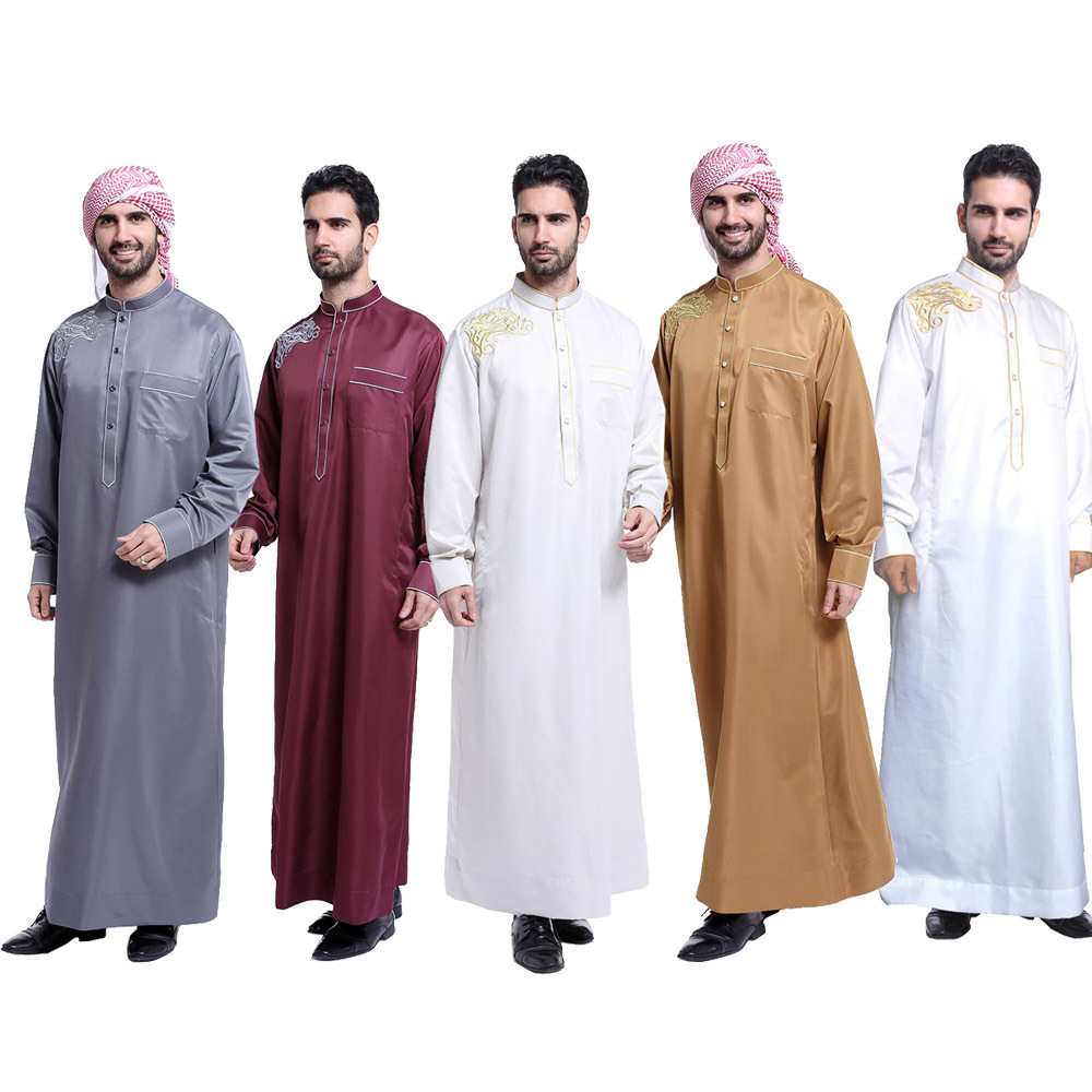 Muslim Men Robes Long Sleeve Embroidery Pattern Arab Dubai Indian Clothes Middle East Islamic Man Thobe Kaftan Robe L213