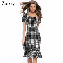 Zioksy Womens Elegant Vintage Houndstooth Print Square Neck Pinup Mermaid Casual Party Pencil Sheath Summer Dress Send Belt