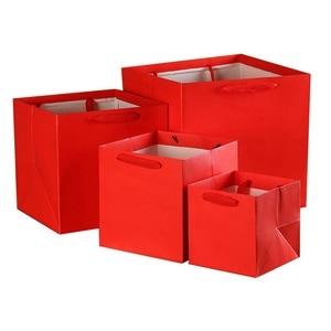Image 2 - 100 יח\חבילה 4 צבעים כיכר פירות פרחים אריזת שקית נייר עם ידית כיכר תחתון קראפט שקית נייר מתנת תיק 4 גודל