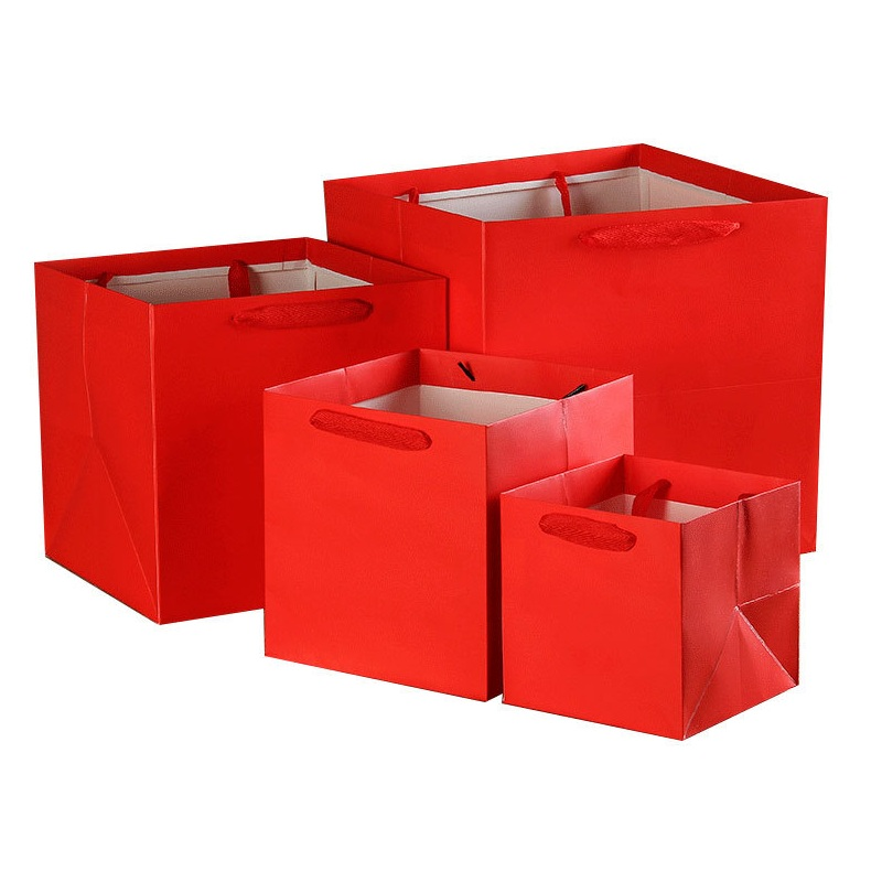 Image 2 - 100pcs/lot 4 Colors Square Fruit flowers packaging paper bag with handle square bottom kraft paper bag gift bag 4 SizeGift Bags & Wrapping Supplies   -