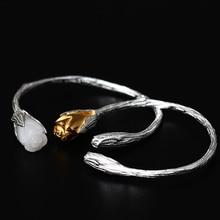 Kvinnor äkta jade armband 925 sterling silver mosaik vit jade guld färg orkidé design charms armband för kvinnor smycken gåva
