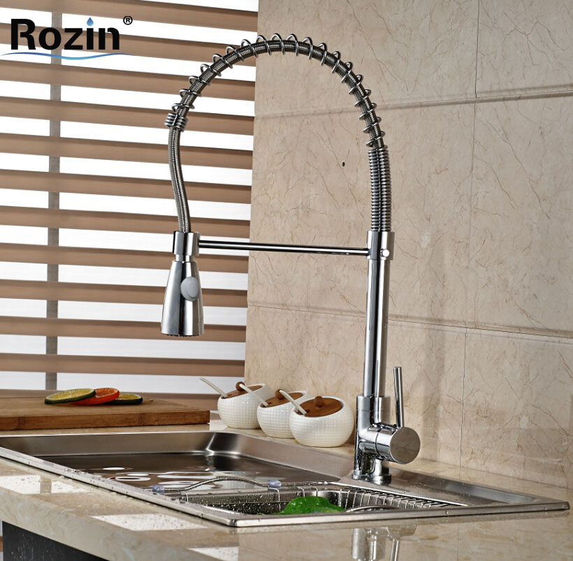 Polished Chrome Spring Kitchen Mixer Water Faucet Deck Mount Pull Down Kitchen Sink Hot and Cold Tap Single Lever chrome kitchen sink faucet solid brass spring two spouts deck mount kitchen mixer tap