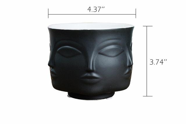 American Creative Design Planter 3D Face Multi-faceted White Nordic Ceramic Small Decorative Vase Flower Pot Plant Holder Home