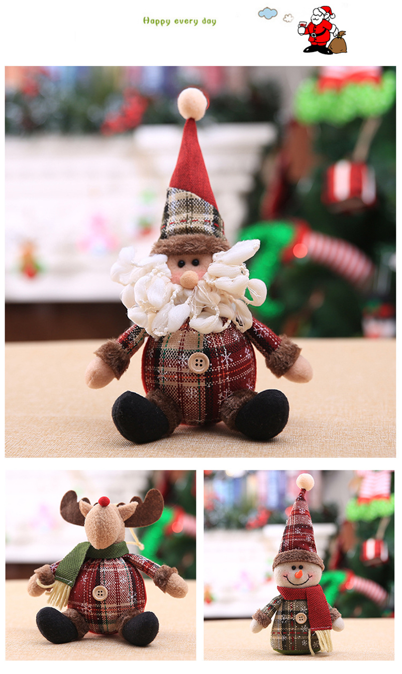 2019 Merry Christmas Tree Ornaments Christmas Decorations for Home New Year gift Children Snowflake Elk Plaid Doll Hanging Natal (13)