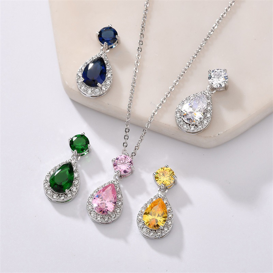 IDESTINY 11.11 Sale Waterdrop Jewellery Pendant for Women White Gold Color Plated Generous CZ Stone Party Jewelry Gift