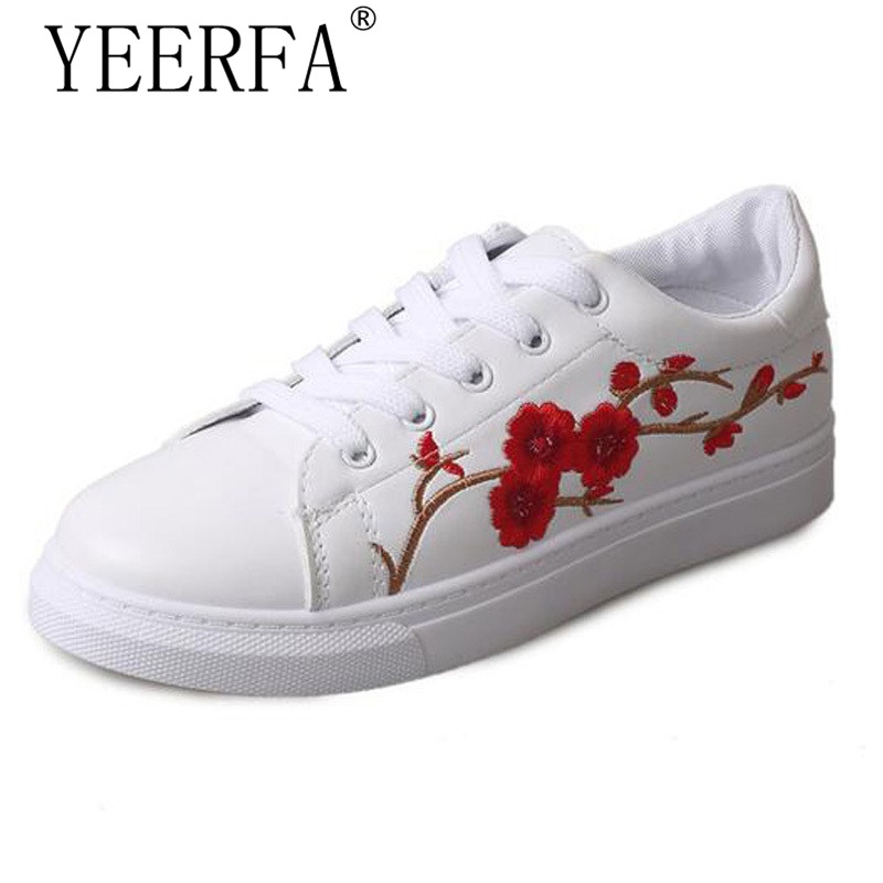 YEERFA plum blossom Embroidered Women Casual Shoes Lace-up Fashion Flat Shoes All-match Spring autumn White Shoes 3 colors pearl white canvas shoes shoes white shoes all match flat flat with lace shoes in autumn korean students