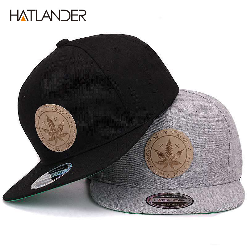 [HATLANDER]Maple solid cotton snapback   caps   women's flat brim hip hop   cap   outdoor   baseball     cap   bone gorras mens   caps   and hats