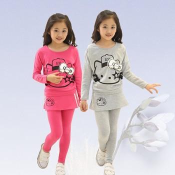 223f241b1 Niñas Ropa de otoño e invierno traje de la ropa de los niños de 3-14 años  niñas deportes traje de alta calidad de manga larga T -Camisa + Pantalones