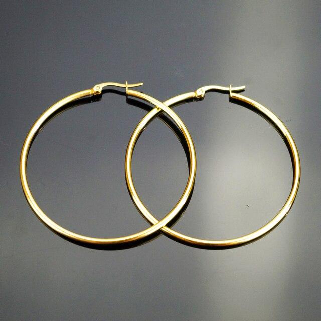 3502b7f9051b Diámetro  20-70mm de plata de oro gran clásico círculo Pendientes de aro de