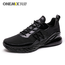 ONEMIX Fashion Men Casual Shoes Black Breathable Textile Upper  Summer Sneakers Lightweight Outdoor Sport Trainers