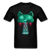 الإبداعية تصميم ملابس الرجال الذكور الصيف كبيرة الحجم xxxl ufo الغريبة القط الهواء سفينة الزى رجل مضحك أنيمي تي شيرت للبيع 2018