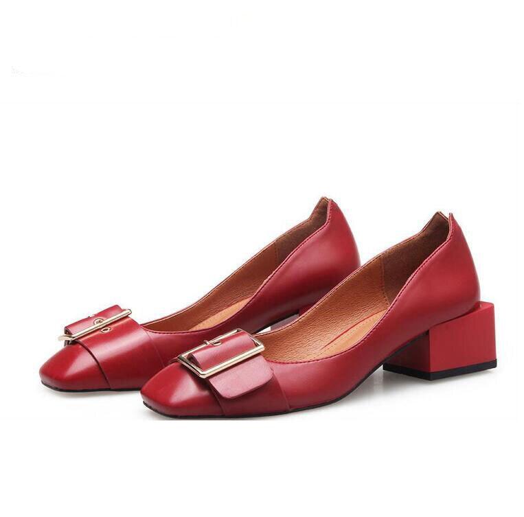 Offre Haute Occasionnels Beige En 35 Épais noir Qualité 39 Automne marron Femmes De Spéciale 2016 rouge Taille Chaussures Nouveau Boucle Simples Des Cuir Avec Mot qAr5qawx