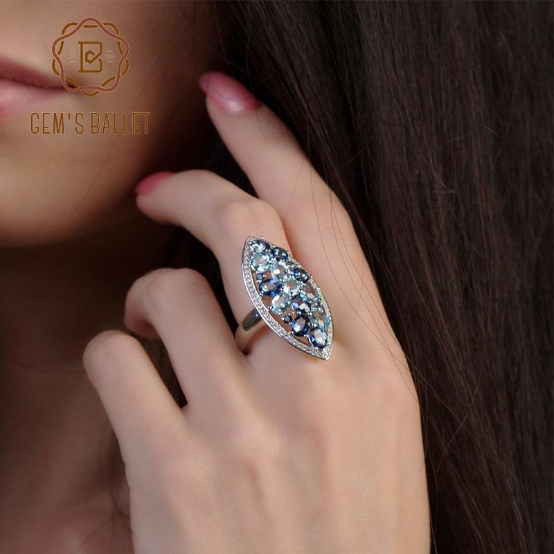 Gem's Ballet Fashion Women Natural Iolite Blue Mystic Quartz Sky Blue Topaz Gemstone Ring 925 Sterling Silver Rings Fine Jewelry