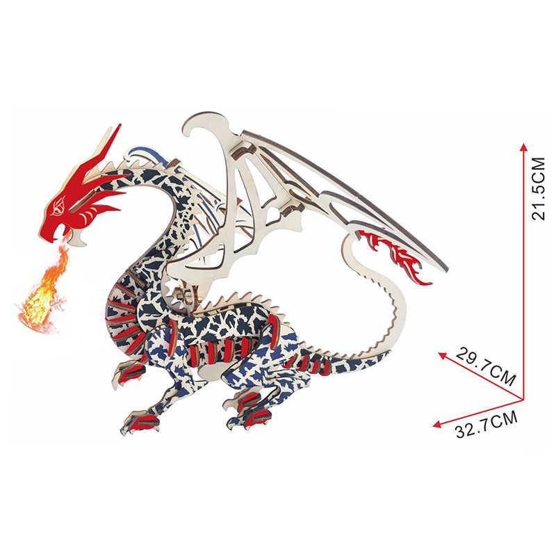 DIY artes y 3D dragón hecha a mano de Madera Juguetes artes rompecabezas modelo decoración para niños chico juguete cumpleaños mejor regalo