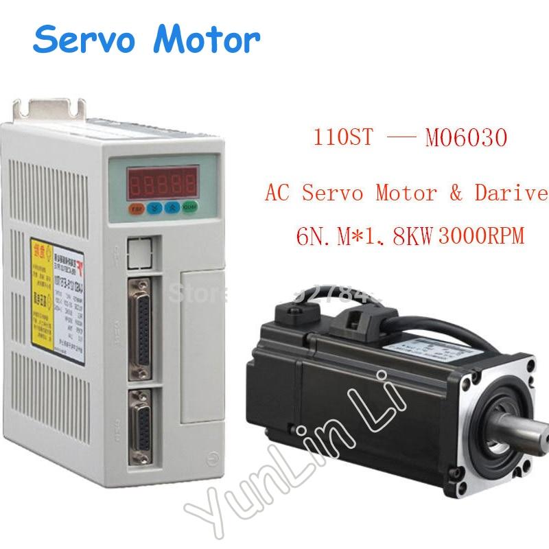 все цены на New Servo System Kit 6N.M 1.8KW 3000RPM 110ST AC Servo Motor 110ST-M06030 + Matched Servo Driver онлайн