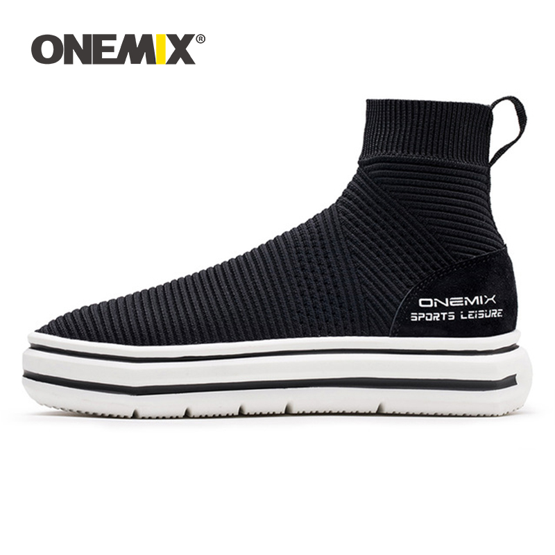 Onemix sock ankle boots for men height increasing walking shoes for women outdoor trekking sneakers autumn