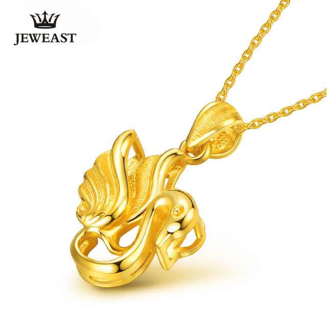 JEWEAST Real 24K Gold Charms Pure Gold Fashion Swan Shape Fit Pendants And Necklace Christmas Gift Woman Luxury Charms