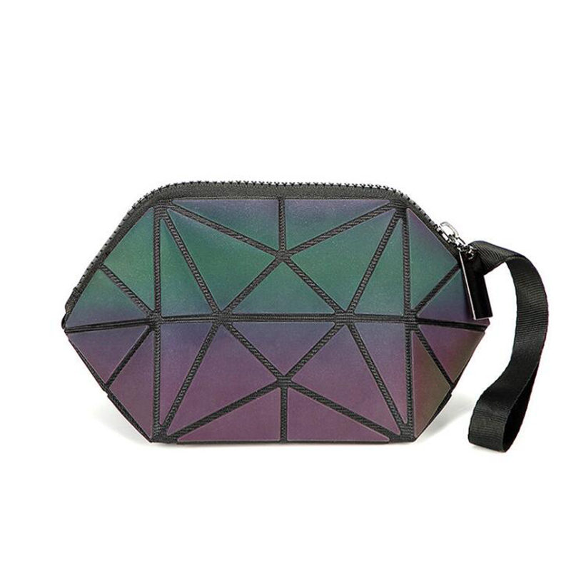 Fashion Cosmetic Bag Women Geometric Zipper Luminous Makeup Bag Ladies Organizer Folding Travel Make Up Wash Kit Toiletry Bag