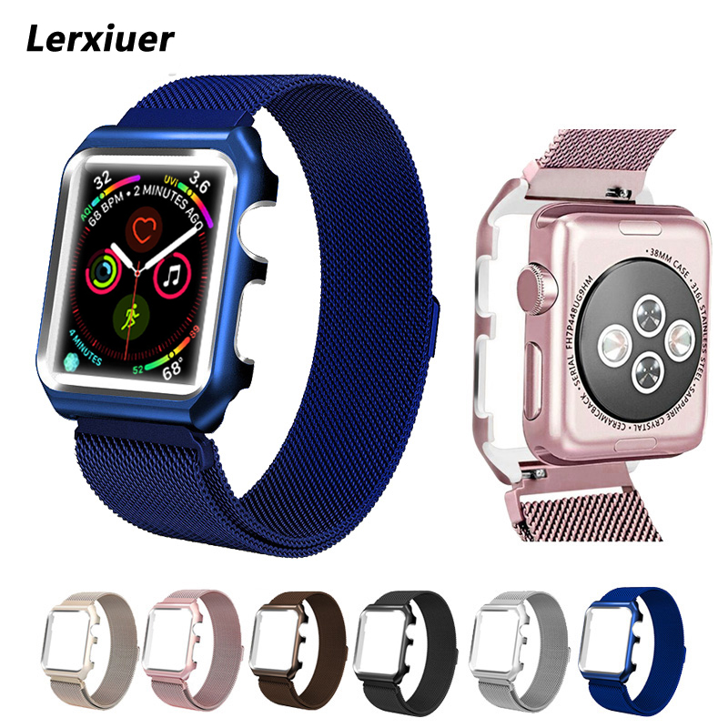 Milanese Loop Strap For Apple Watch 3 42mm 38mm Case Stainless Steel Wrist Bracelet Band & Protective shell for Iwatch 3 2 1 idg for apple watch 1 2 3 stainless steel milanese strap metal loop wrist band 38 bracelet 42mm watch protective case box frame