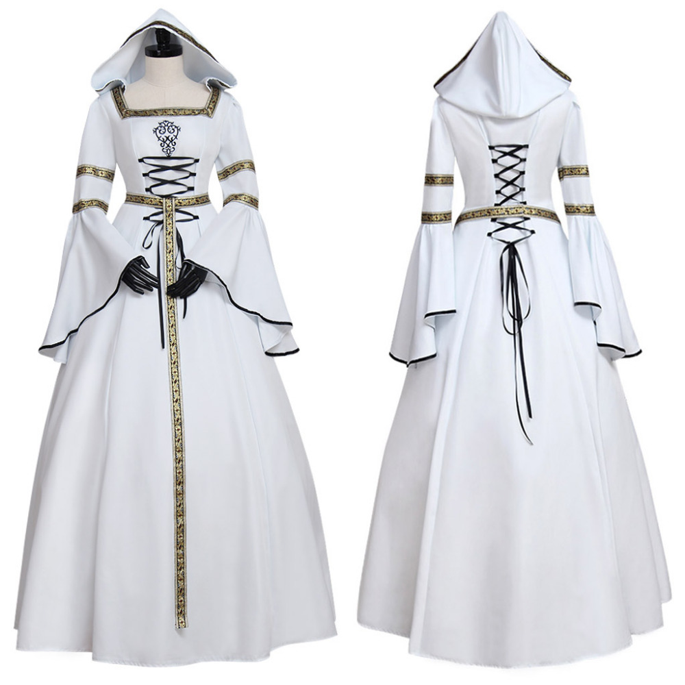 Ladies White Medieval Renaissance Ball Gown Dress Hooded Adult ...