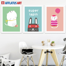 Cartoon Cat Rabbit Balloon Crown Wall Art Canvas Painting Nordic Posters And Prints Animals Wall Pictures For Kids Room Decor balloon whale panda wall art canvas painting nordic posters and prints wall pictures for kids bedroom baby boy girl room decor